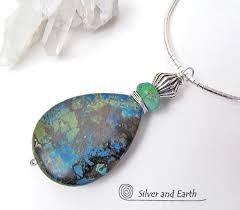 azurite malachite stone pendant necklace natural semiprecious stone jewelry