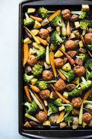 en meatball and roasted vegetable sheet pan dinner easy budget meal made with just 4