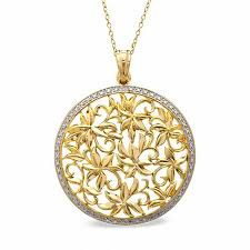 diamond accent medallion pendant in sterling silver and 18k gold plate