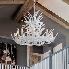 twig 9 light modern antler chandelier white painting candle with regard to designs 7