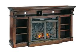 Alymere Elegant Rustic Brown Black TV Stand W Fireplace