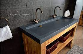 granite stone double bathroom sink