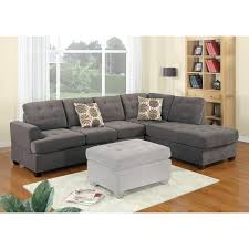 luxurious and plush 2 piece corduroy sectional sofa in waffle suede charcoal