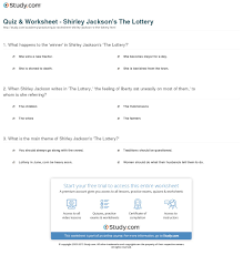 quiz worksheet shirley jackson s the lottery com print the lottery by shirley jackson summary analysis worksheet
