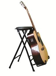 a guitar stand and stool all in one