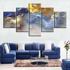 5 pc set blue yellow grey abstract cloud no frame oil painting canvas prints wall art on yellow blue and grey wall art with 5 pc set blue yellow grey abstract cloud no frame oil painting