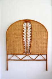 rattan twin bed. Perfect Twin Vintage Rattan Headboard Woven Boho Peacock Curved Twin Bed Natural Color  Unbranded With E