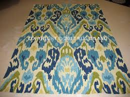 best blue green area rug with 8x11 ikat contemporary ca indoor outdoor blue green