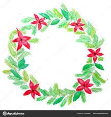 Handbemalt Aquarell Adventskranz Mit Roten Weihnachtsstern