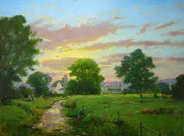 sundown on the shenandoah creek oil painting by find this pin and more on american landscape paintings