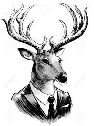 Deer In Suit Ink Black And White Drawing