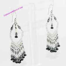 silpada hematite black bead fringe chandelier earrings artisan 925 sterling silver stone designer long dangle new in box retired rare