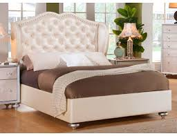Glam Crystal Tufted Leather Bed