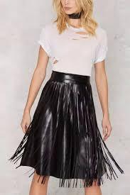 gol faux leather fringe skirt front cropped image