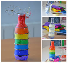 Plain Water Bottles To Decorate Tutorial to decorate a plain bottle with coloured tissue paper 2