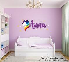 unicorn and name wall decal set girly