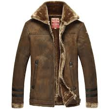 details about mens air force pilot fur lining suede fur leather jacket coat outwear overcoat