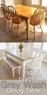 diy grey paint wash dining table