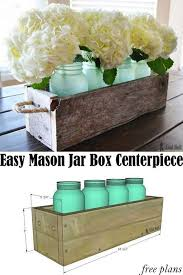 Glass Jar Table Decorations Easy Reclaimed Wood Box Centerpiece Glass Jars Sea Glass And 65