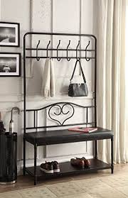 Hall Coat Racks Fascinating Amazon Black Metal And Bonded Leather Entryway Shoe Bench With