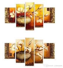 hot modern wall painting white flowers home decorative art picture paint on canvas 5 panel canvas art hh5001 flower oil painting canvas wall art