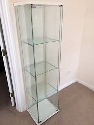 ikea detolf glass door cabinet white in excellent condition with led light