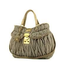Miu Miu Matelassé Handbag 329663 | Collector Square & Miu Miu Matelassé bag in grey-beige quilted canvas and beige suede Adamdwight.com