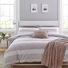 catherine lansfield newquay stripe pink double duvet set zoom
