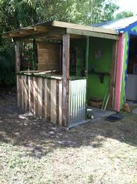 Bar Made Out Of Pallets Tiki Hut Bar Made With Reclaimed Pallet Wood Left Over Tin And