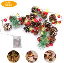 Number One Christmas Garland With Lights Red Berry Pine Cone Garland Lights 6 5ft 20 Led Battery Operated Christmas Tree Decor Light String Lights