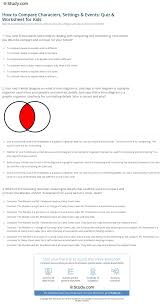 Venn Diagram Character Comparison How To Compare Characters Settings Events Quiz Worksheet For