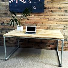 diy plywood desk with pipe frame plans to build your own