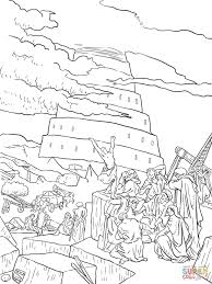Small Picture Tower of Babel and the Confusion of Tongues coloring page Free