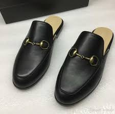 new arrival mens black leather slippers causal loafer shoes brand designer sandals autumn shoes 38 45 drop loafers for women clogs for women from
