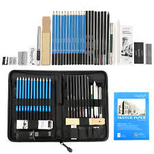 professional art set. 41pcs professional drawing artist kit set pencils and sketch charcoal art \u0026 bag i
