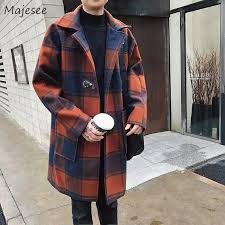 2019 wool plaid slim single ted long men coat korean style harajuku trendy winter high quality all match men s overcoat chic hot from benedica