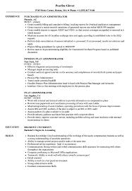 Plan Administrator Resume Samples Velvet Jobs