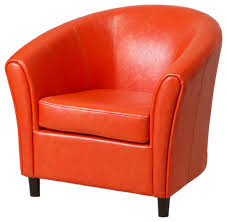 newport leather club chair orange