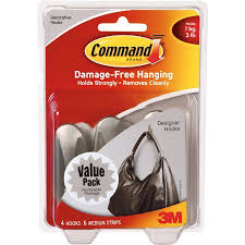 Command Strip Coat Rack Command Designer Hooks Brushed Nickel Medium 100 Hooks 100 Strips 90
