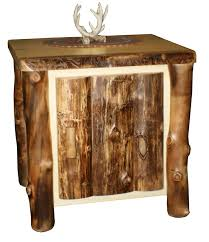 wood end tables. Pid44962 Amish Rustic Aspen Wood End Table With Door 20 Wooden Tables