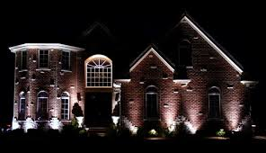 outdoor house lighting ideas. Lighting Ideas, Dramatic Outdoor Designs In Brick House With Pointed Roof And White Wooden Ideas E