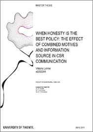 when honesty is the best policy  the effect of combined motives    when honesty is the best policy  the effect of combined motives and information source in csr communication