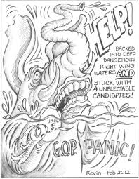 twooldliberals com two old liberals kevin and paul  political cartoon and essay by kevinrepublicans panic floundering in extreme right wing waters