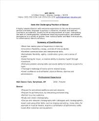 Free Sample Dancer Resume Template