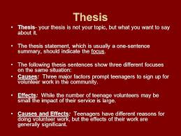cause and effect a cause and effect essay focus on causes of  2 thesis