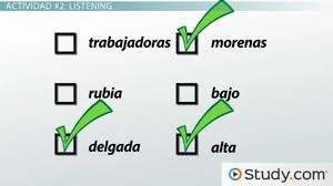 describing people in spanish practice comprehension activity  describing people in spanish practice comprehension activity video lesson transcript com