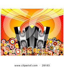music speakers clipart. clipart illustration of sound flowing from a pair black music speakers surrounded by circles on bursting background kj pargeter r