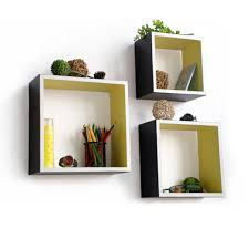 carbon black square leather wall shelf  bookshelf  floating