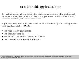 Internship Application Letter Sales Internship Application Letter
