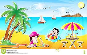 summer beach fun cartoon vector ilration with a little boy and a little in a beautiful sea beach